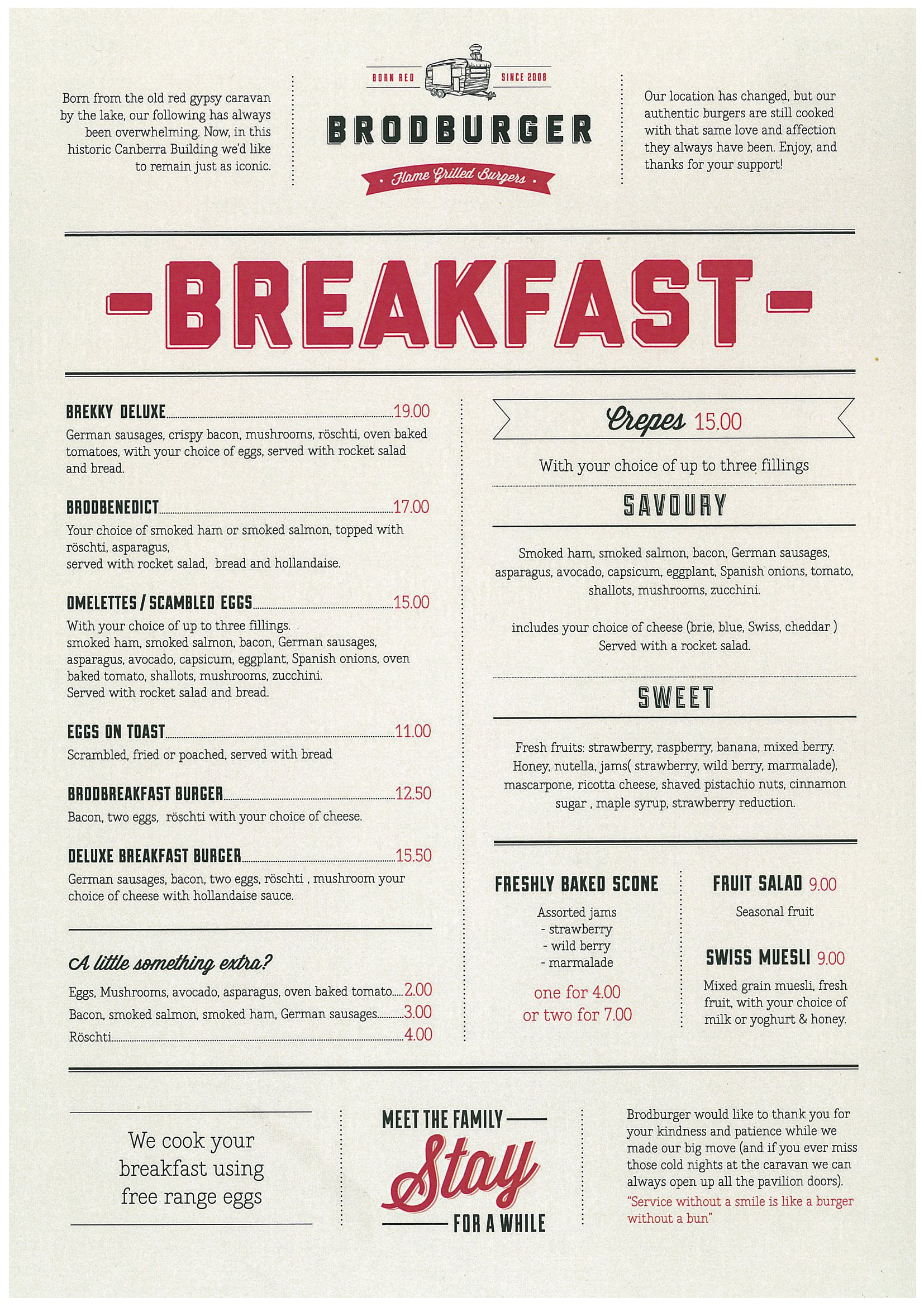 Brodburger is back updated the canberran for Best brunch menu